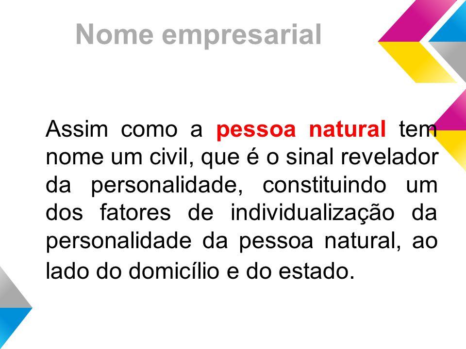 Nome empresarial Assim como a pessoa natural tem nome um civil, que é o sinal revelador da personalidade, constituindo um dos fatores de individualização da personalidade da pessoa natural, ao lado do domicílio e do estado.