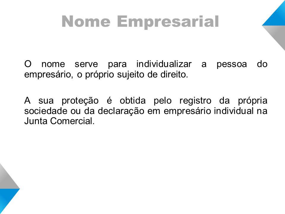 Nome Empresarial O nome serve para individualizar a pessoa do empresário, o próprio sujeito de direito.