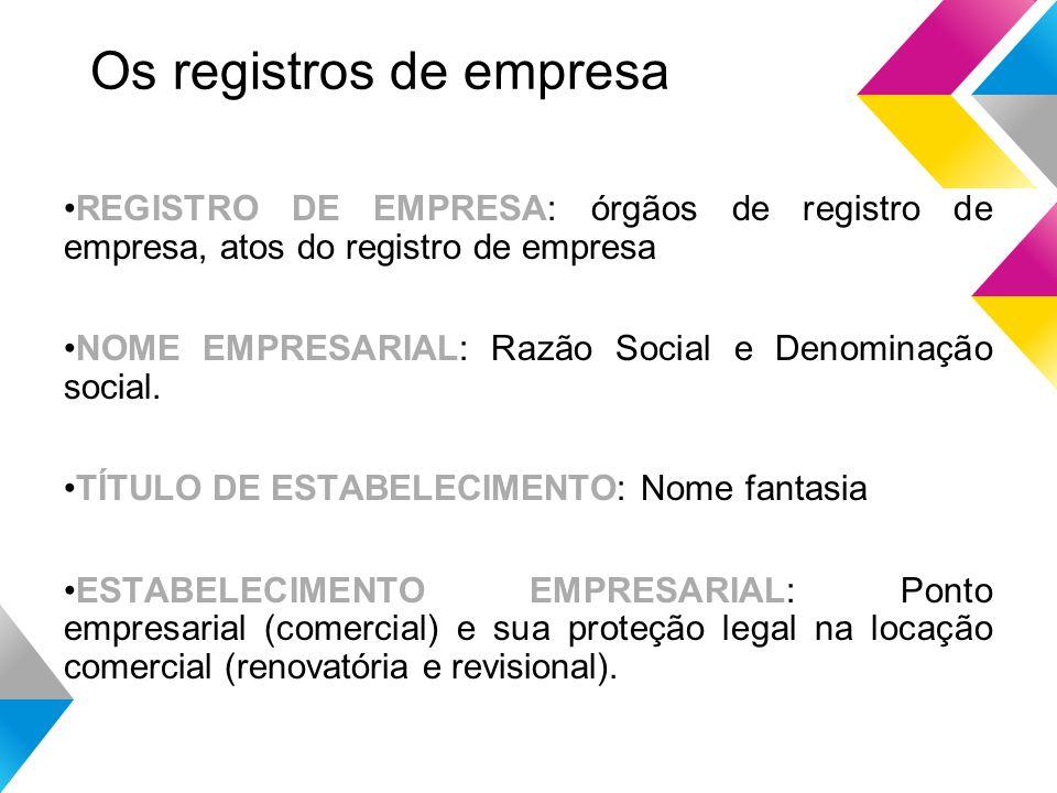 Os registros de empresa REGISTRO DE EMPRESA: órgãos de registro de empresa, atos do registro de empresa NOME EMPRESARIAL: Razão Social e Denominação social.