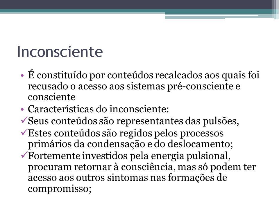 Inconsciente É constituído por conteúdos recalcados aos quais foi recusado o acesso aos sistemas pré-consciente e consciente Características do incons