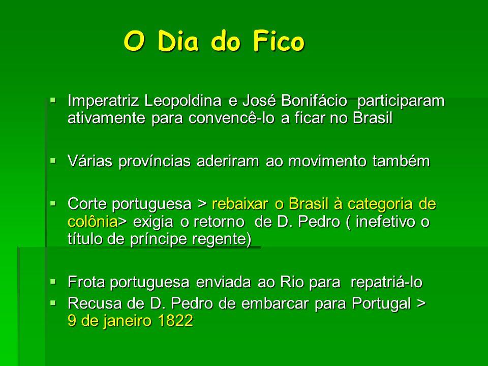 O Dia do Fico O Dia do Fico  Imperatriz Leopoldina e José Bonifácio participaram ativamente para convencê-lo a ficar no Brasil  Várias províncias ad