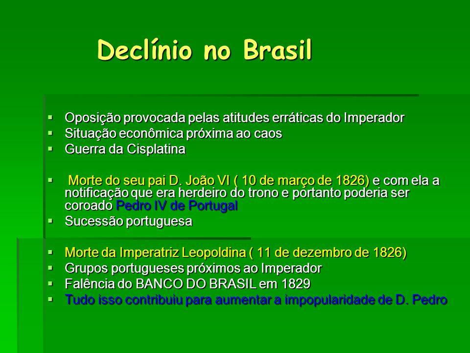Declínio no Brasil Declínio no Brasil  Oposição provocada pelas atitudes erráticas do Imperador  Situação econômica próxima ao caos  Guerra da Cisp