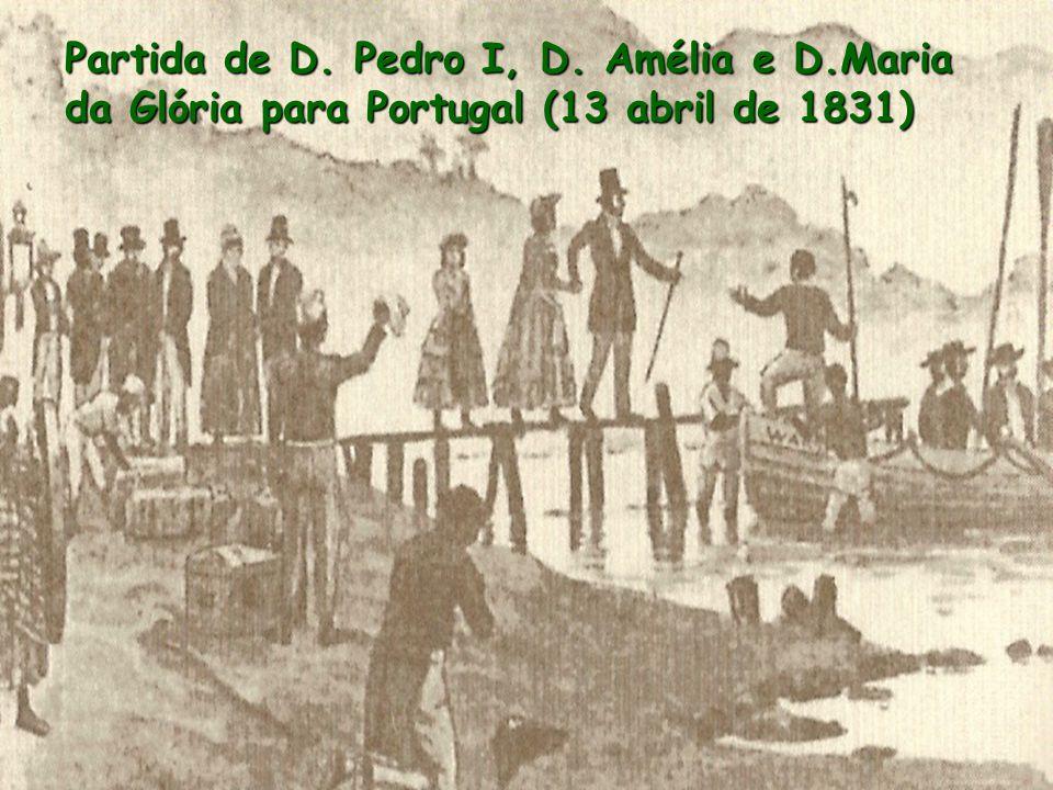 Partida de D. Pedro I, D. Amélia e D.Maria da Glória para Portugal (13 abril de 1831)