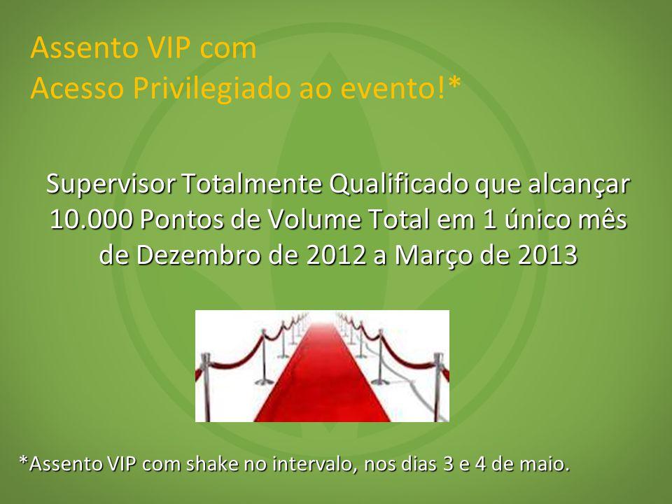 Assento VIP com Acesso Privilegiado ao evento!* Supervisor Totalmente Qualificado que alcançar 10.000 Pontos de Volume Total em 1 único mês de Dezembro de 2012 a Março de 2013 *Assento VIP com shake no intervalo, nos dias 3 e 4 de maio.