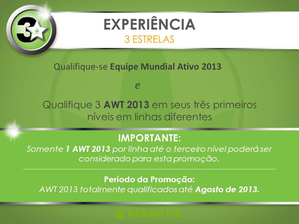 Qualifique-se Equipe Mundial Ativo 2013 e EXPERIÊNCIA 3 ESTRELAS Qualifique 3 AWT 2013 em seus três primeiros níveis em linhas diferentes IMPORTANTE: Somente 1 AWT 2013 por linha até o terceiro nível poderá ser considerado para esta promoção.
