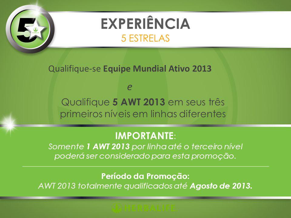 Qualifique-se Equipe Mundial Ativo 2013 e EXPERIÊNCIA 5 ESTRELAS Qualifique 5 AWT 2013 em seus três primeiros níveis em linhas diferentes IMPORTANTE :