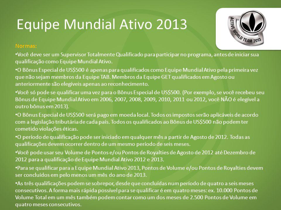 Equipe Mundial Ativo 2013 Normas: Você deve ser um Supervisor Totalmente Qualificado para participar no programa, antes de iniciar sua qualificação como Equipe Mundial Ativo.