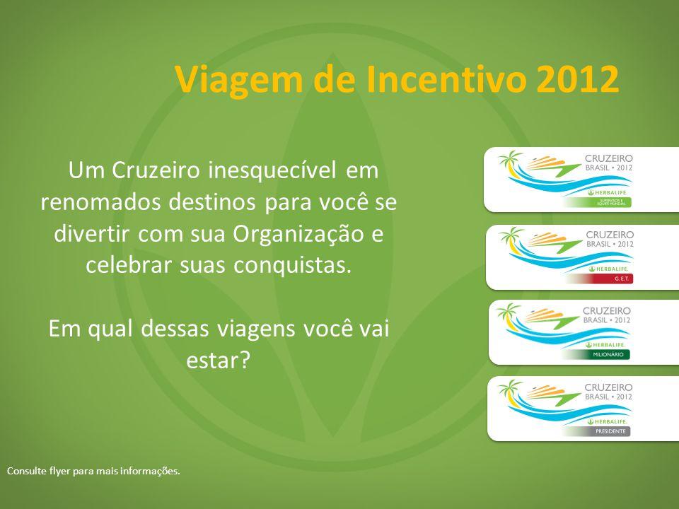 Viagem de Incentivo 2012 Um Cruzeiro inesquecível em renomados destinos para você se divertir com sua Organização e celebrar suas conquistas. Em qual