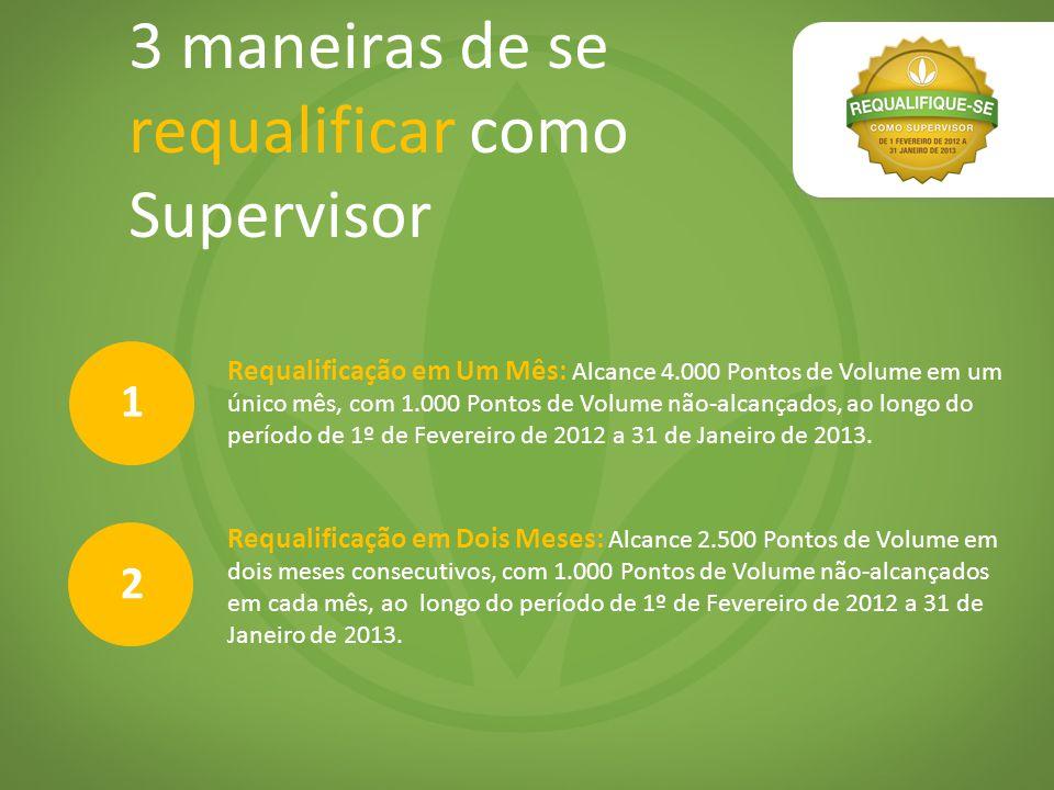 3 maneiras de se requalificar como Supervisor Requalificação em Um Mês: Alcance 4.000 Pontos de Volume em um único mês, com 1.000 Pontos de Volume não-alcançados, ao longo do período de 1º de Fevereiro de 2012 a 31 de Janeiro de 2013.