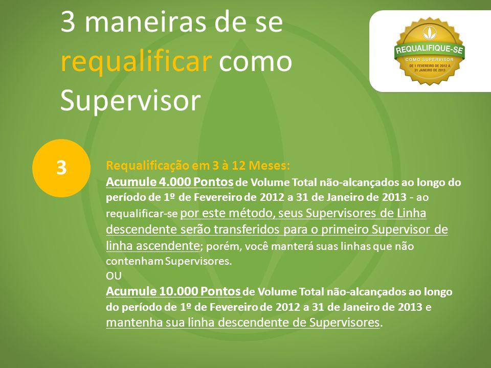3 maneiras de se requalificar como Supervisor Requalificação em 3 à 12 Meses: Acumule 4.000 Pontos de Volume Total não-alcançados ao longo do período