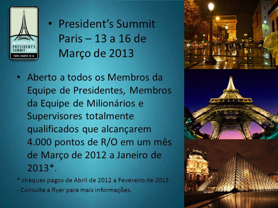Aberto a todos os Membros da Equipe de Presidentes, Membros da Equipe de Milionários e Supervisores totalmente qualificados que alcançarem 4.000 pontos de R/O em um mês de Março de 2012 a Janeiro de 2013*.