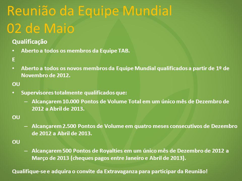 Reunião da Equipe Mundial 02 de Maio Qualificação Aberto a todos os membros da Equipe TAB. E Aberto a todos os novos membros da Equipe Mundial qualifi