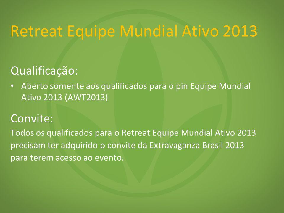 Qualificação: Aberto somente aos qualificados para o pin Equipe Mundial Ativo 2013 (AWT2013) Convite: Todos os qualificados para o Retreat Equipe Mund