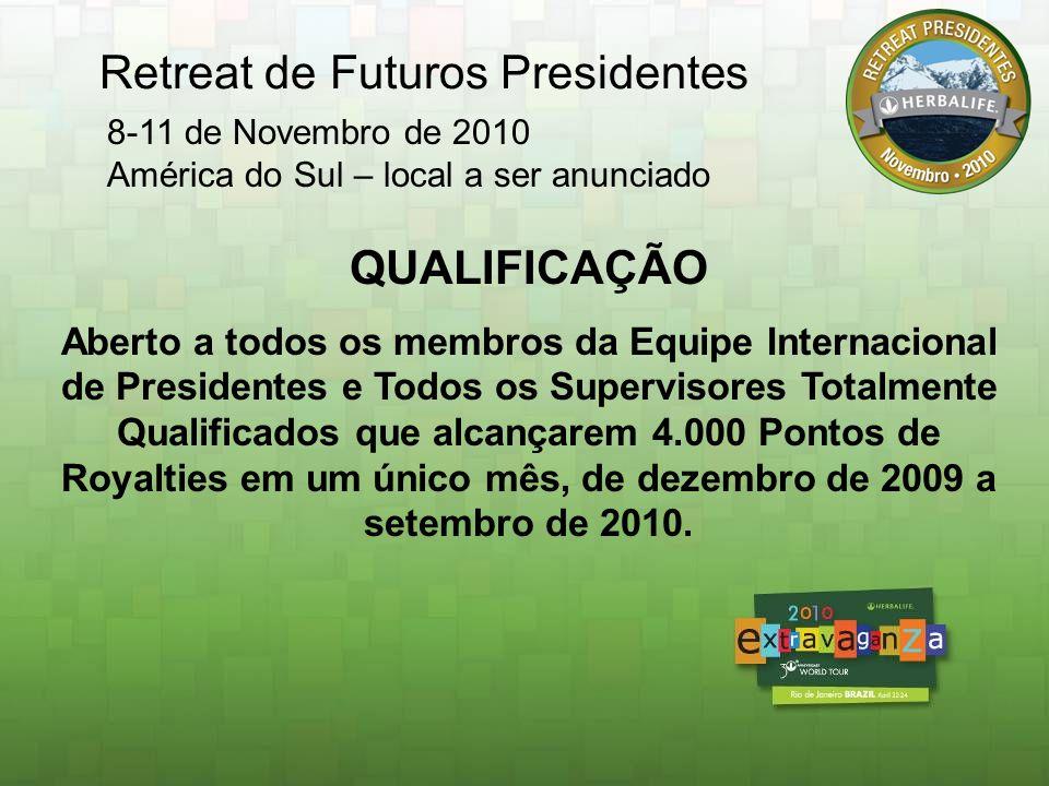 Honors 2011 Qualificação: Seja um Membro da Equipe de Presidentes OU Supervisor totalmente qualificados e alcance o mínimo de 7.500 Pontos de Royalties em um único mês, de Março de 2010 a Janeiro de 2011.