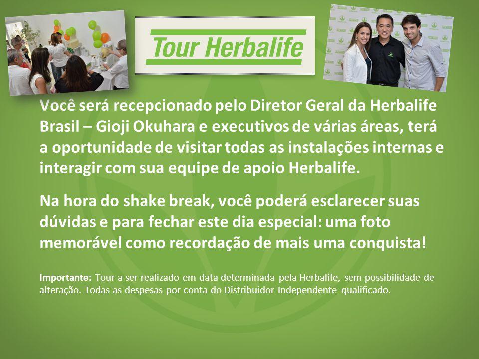 Você será recepcionado pelo Diretor Geral da Herbalife Brasil – Gioji Okuhara e executivos de várias áreas, terá a oportunidade de visitar todas as instalações internas e interagir com sua equipe de apoio Herbalife.