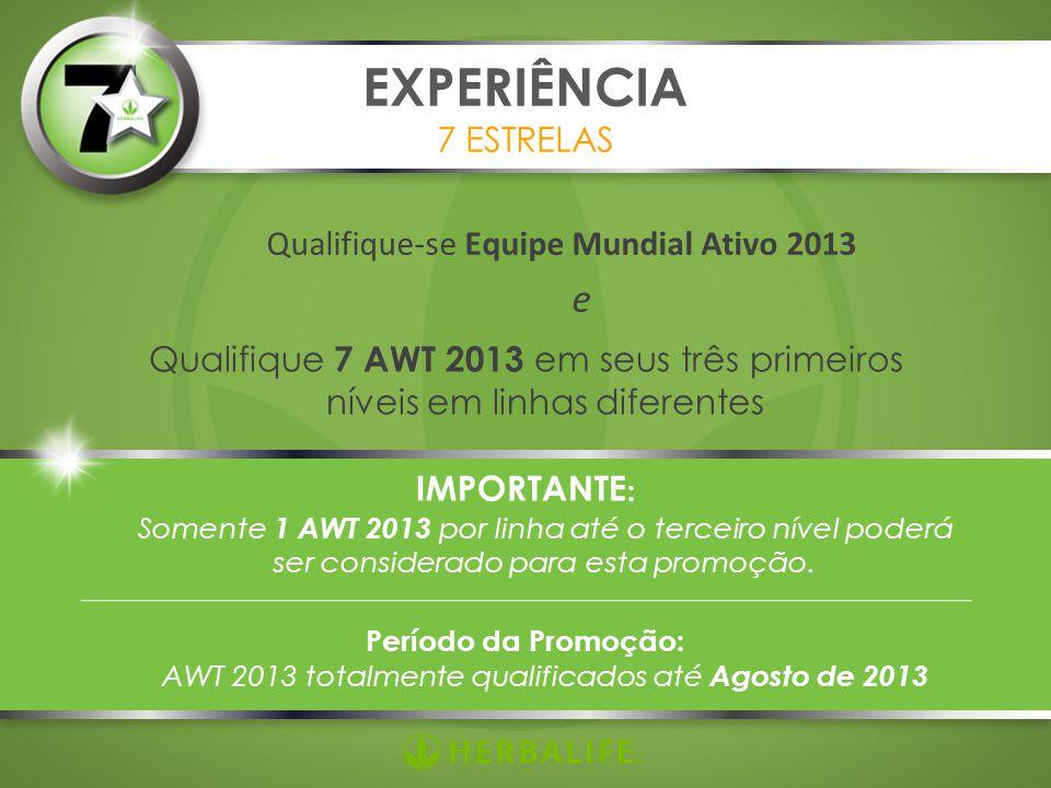 Qualifique-se Equipe Mundial Ativo 2013 e EXPERIÊNCIA 7 ESTRELAS Qualifique 7 AWT 2013 em seus três primeiros níveis em linhas diferentes IMPORTANTE : Somente 1 AWT 2013 por linha até o terceiro nível poderá ser considerado para esta promoção.