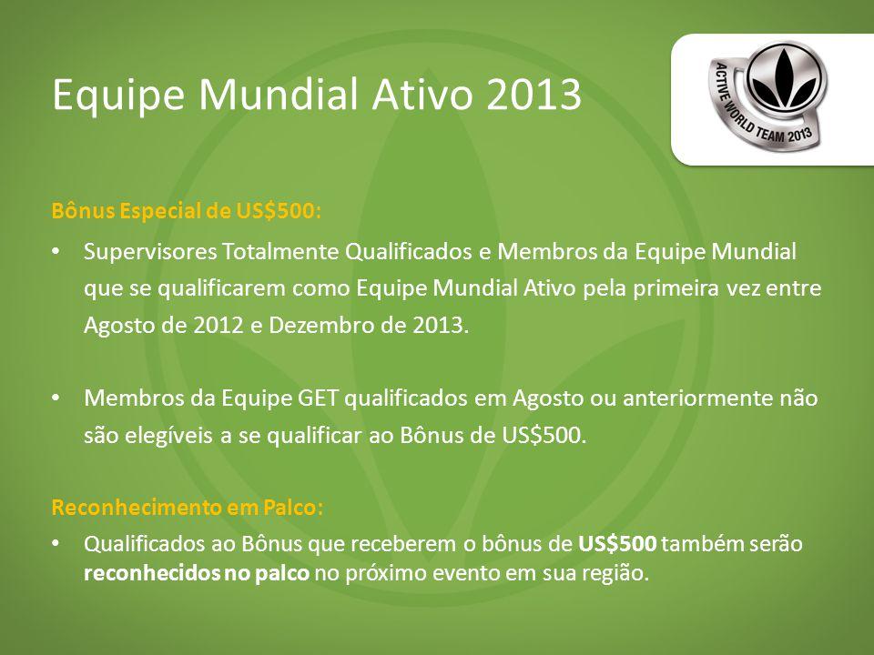 Equipe Mundial Ativo 2013 Bônus Especial de US$500: Supervisores Totalmente Qualificados e Membros da Equipe Mundial que se qualificarem como Equipe Mundial Ativo pela primeira vez entre Agosto de 2012 e Dezembro de 2013.
