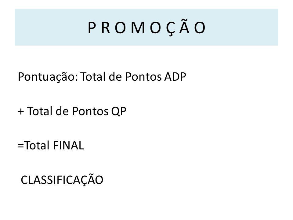 P R O M O Ç Ã O Pontuação: Total de Pontos ADP + Total de Pontos QP =Total FINAL CLASSIFICAÇÃO