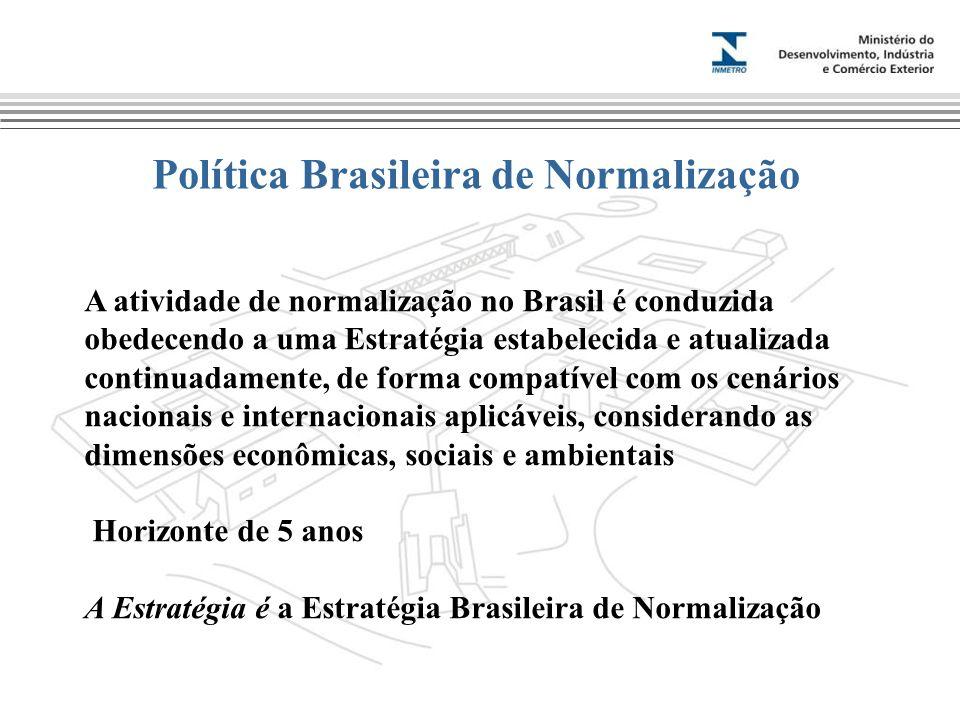 Política Brasileira de Normalização A atividade de normalização no Brasil é conduzida obedecendo a uma Estratégia estabelecida e atualizada continuadamente, de forma compatível com os cenários nacionais e internacionais aplicáveis, considerando as dimensões econômicas, sociais e ambientais Horizonte de 5 anos A Estratégia é a Estratégia Brasileira de Normalização