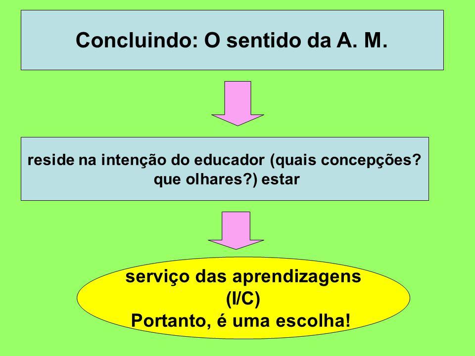 Concluindo: O sentido da A. M. reside na intenção do educador (quais concepções? que olhares?) estar serviço das aprendizagens (I/C) Portanto, é uma e