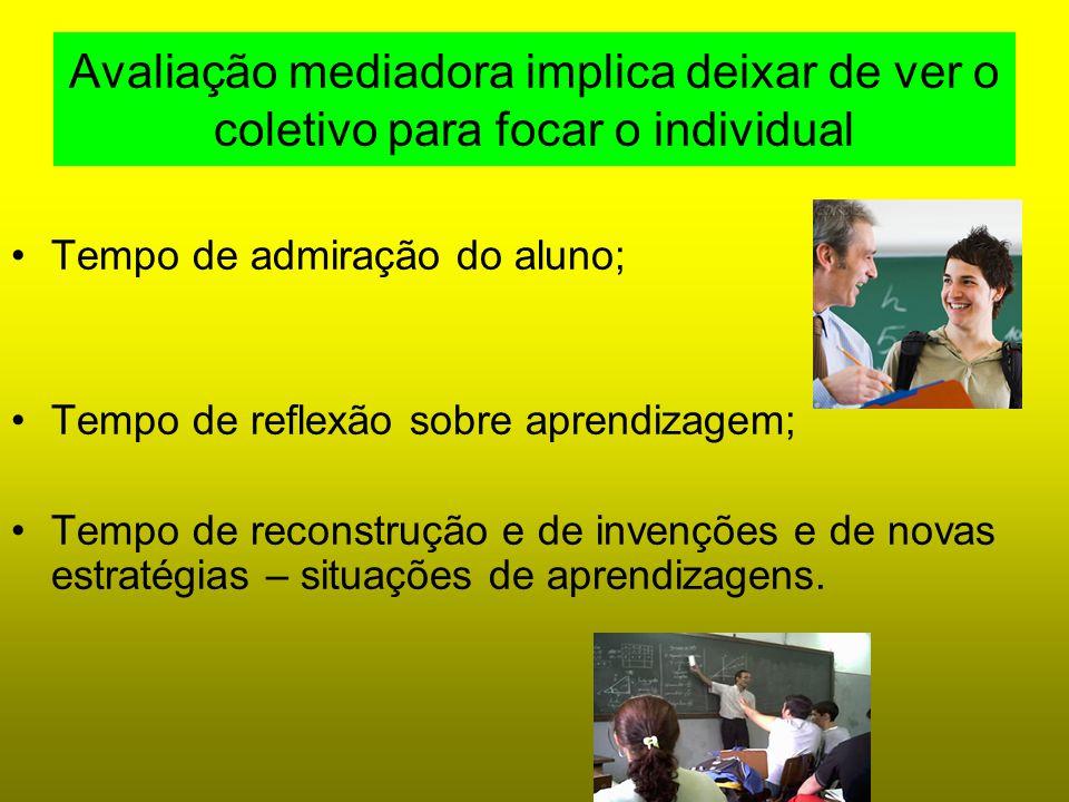 Avaliação mediadora implica deixar de ver o coletivo para focar o individual Tempo de admiração do aluno; Tempo de reflexão sobre aprendizagem; Tempo