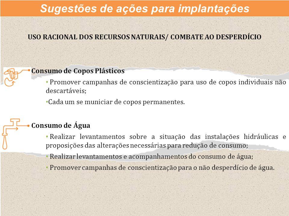 Consumo de Água Realizar levantamentos sobre a situação das instalações hidráulicas e proposições das alterações necessárias para redução de consumo;