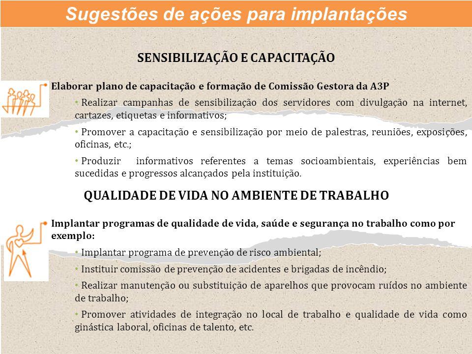 Sugestões de ações para implantações SENSIBILIZAÇÃO E CAPACITAÇÃO Elaborar plano de capacitação e formação de Comissão Gestora da A3P Realizar campanh
