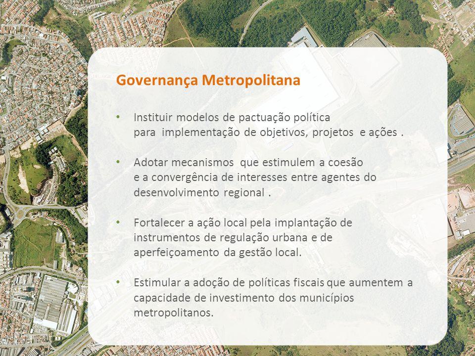 Governança Metropolitana Instituir modelos de pactuação política para implementação de objetivos, projetos e ações. Adotar mecanismos que estimulem a