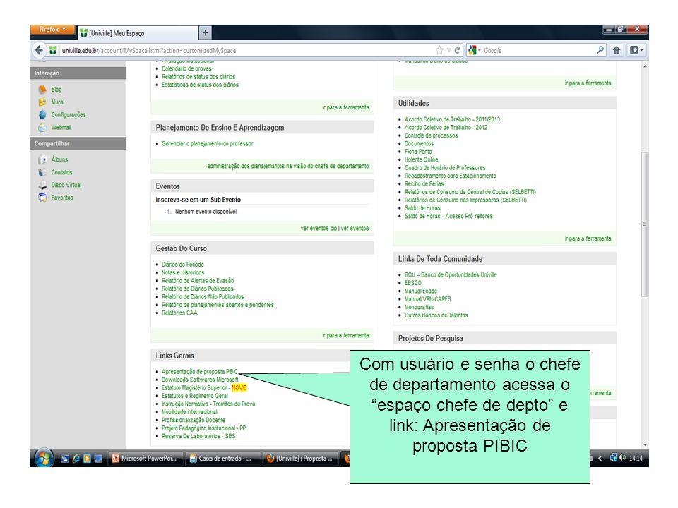 """Com usuário e senha o chefe de departamento acessa o """"espaço chefe de depto"""" e link: Apresentação de proposta PIBIC"""