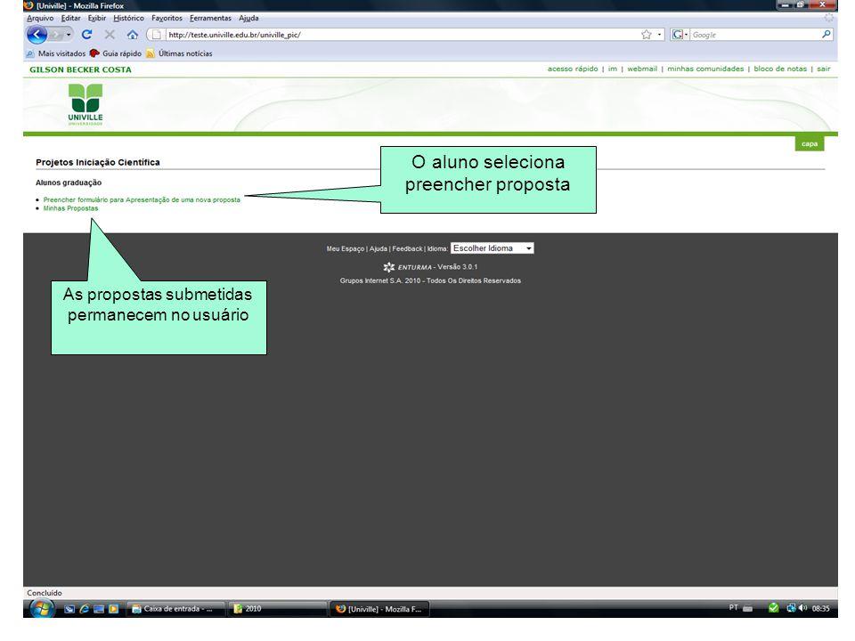 Ao finalizar a proposta aparecerá esta tela com o Status Encaminhado ao orientador, indicando que falta o orientador acessar e preencher a proposta e o parecer