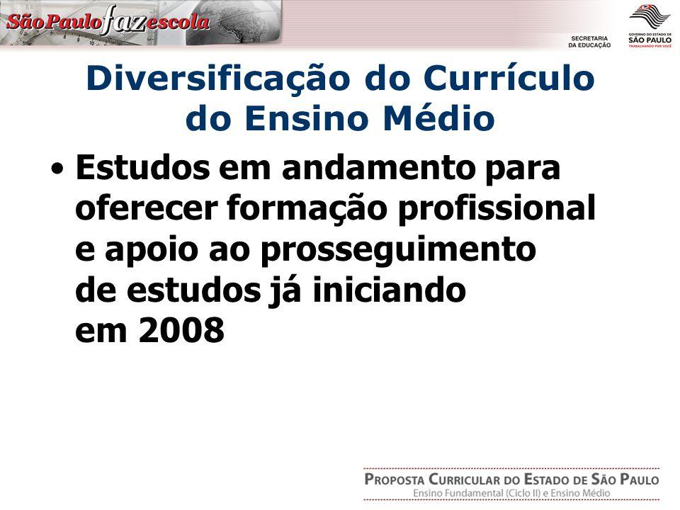 Diversificação do Currículo do Ensino Médio Estudos em andamento para oferecer formação profissional e apoio ao prosseguimento de estudos já iniciando em 2008