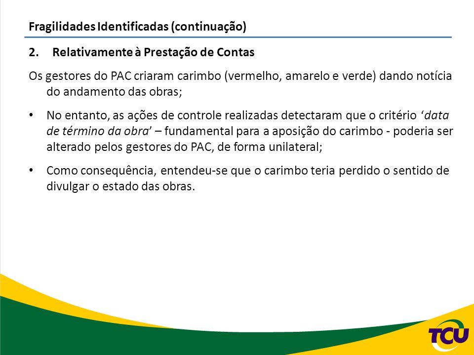 Fragilidades Identificadas (continuação) 2.Relativamente à Prestação de Contas Os gestores do PAC criaram carimbo (vermelho, amarelo e verde) dando no