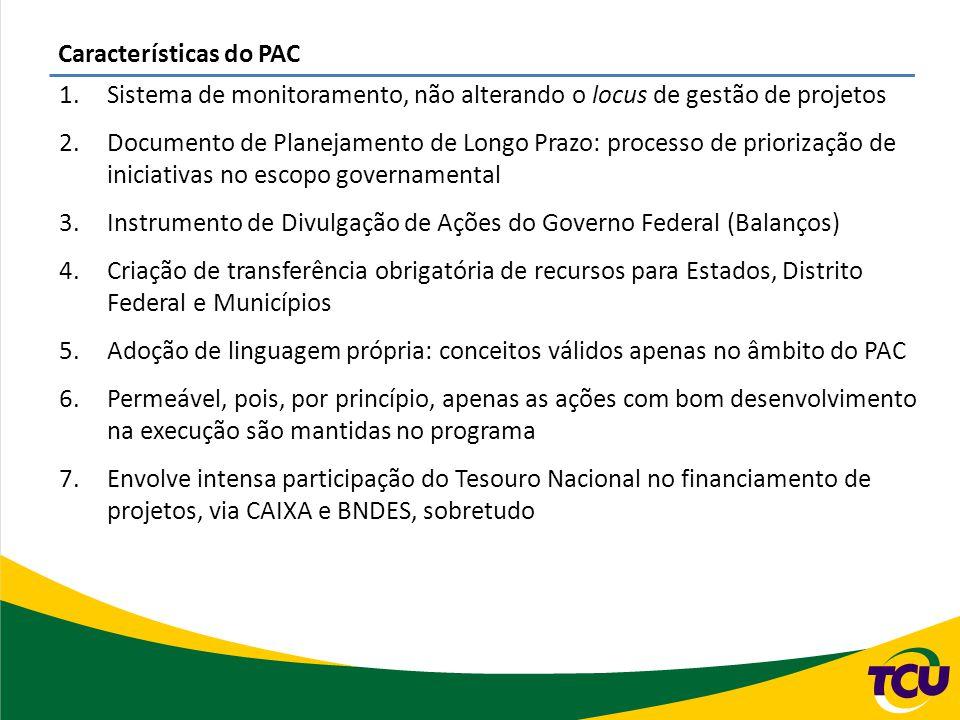 Características do PAC 1.Sistema de monitoramento, não alterando o locus de gestão de projetos 2.Documento de Planejamento de Longo Prazo: processo de