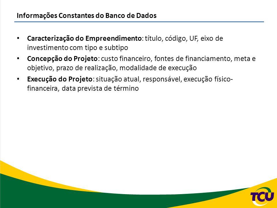 Informações Constantes do Banco de Dados Caracterização do Empreendimento: título, código, UF, eixo de investimento com tipo e subtipo Concepção do Pr