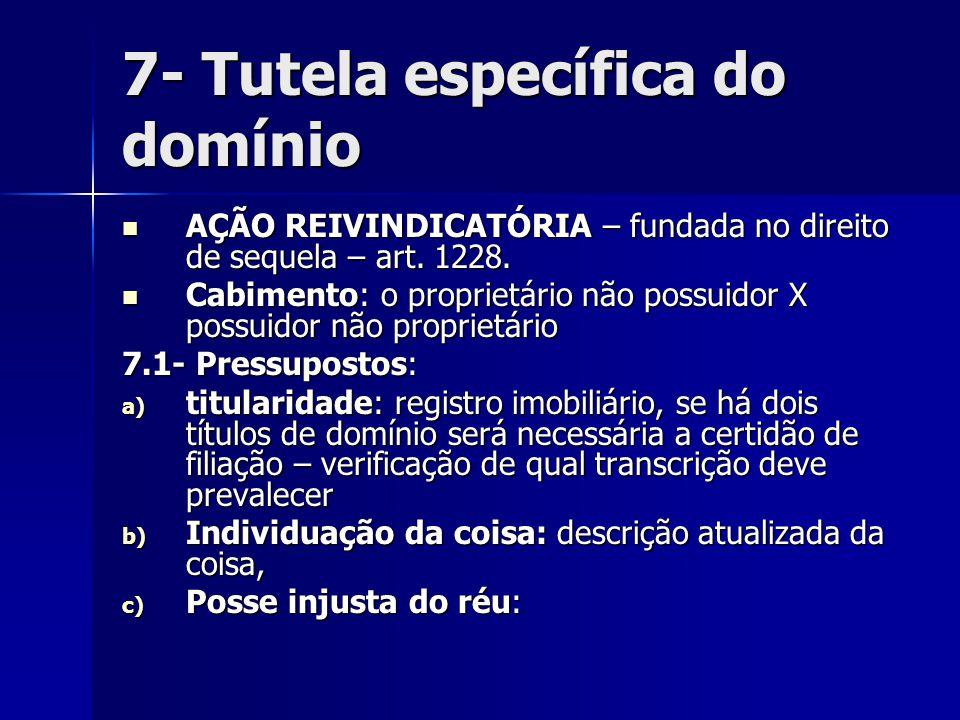 7- Tutela específica do domínio AÇÃO REIVINDICATÓRIA – fundada no direito de sequela – art. 1228. AÇÃO REIVINDICATÓRIA – fundada no direito de sequela