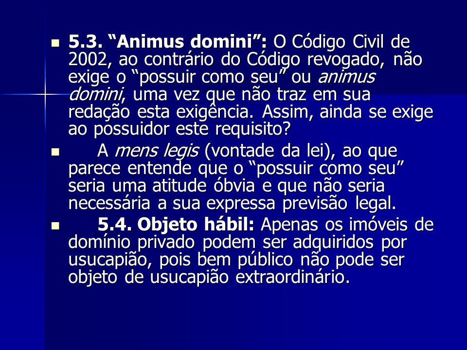 """5.3. """"Animus domini"""": O Código Civil de 2002, ao contrário do Código revogado, não exige o """"possuir como seu"""" ou animus domini, uma vez que não traz e"""