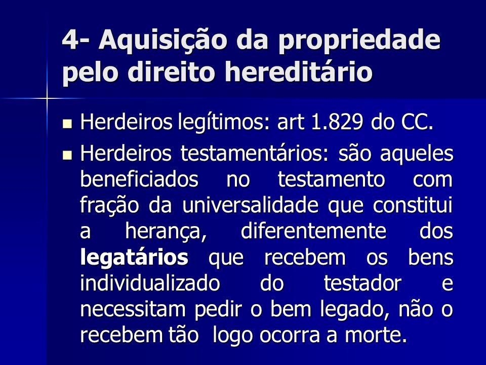 4- Aquisição da propriedade pelo direito hereditário Herdeiros legítimos: art 1.829 do CC. Herdeiros legítimos: art 1.829 do CC. Herdeiros testamentár
