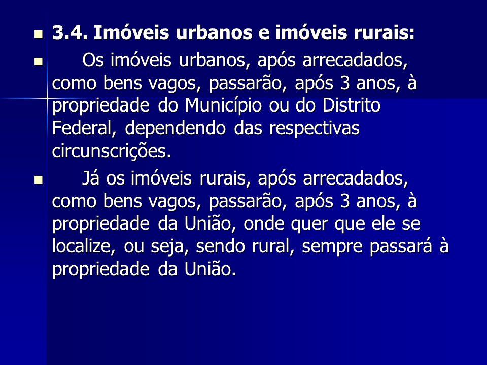 3.4. Imóveis urbanos e imóveis rurais: 3.4. Imóveis urbanos e imóveis rurais: Os imóveis urbanos, após arrecadados, como bens vagos, passarão, após 3