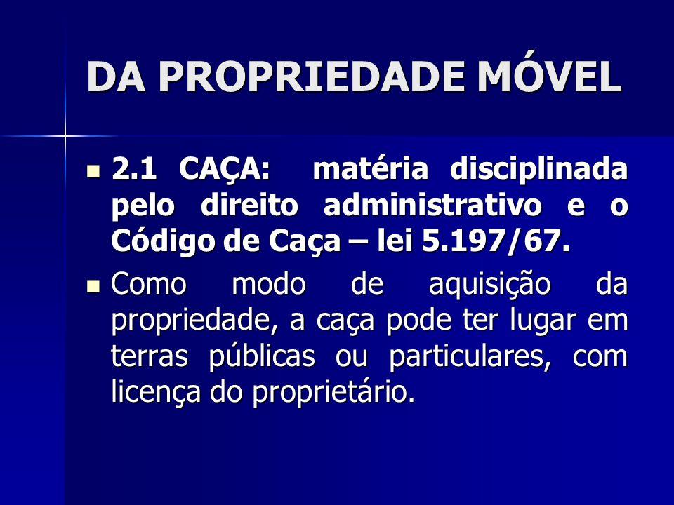 DA PROPRIEDADE MÓVEL 2.1 CAÇA: matéria disciplinada pelo direito administrativo e o Código de Caça – lei 5.197/67. 2.1 CAÇA: matéria disciplinada pelo