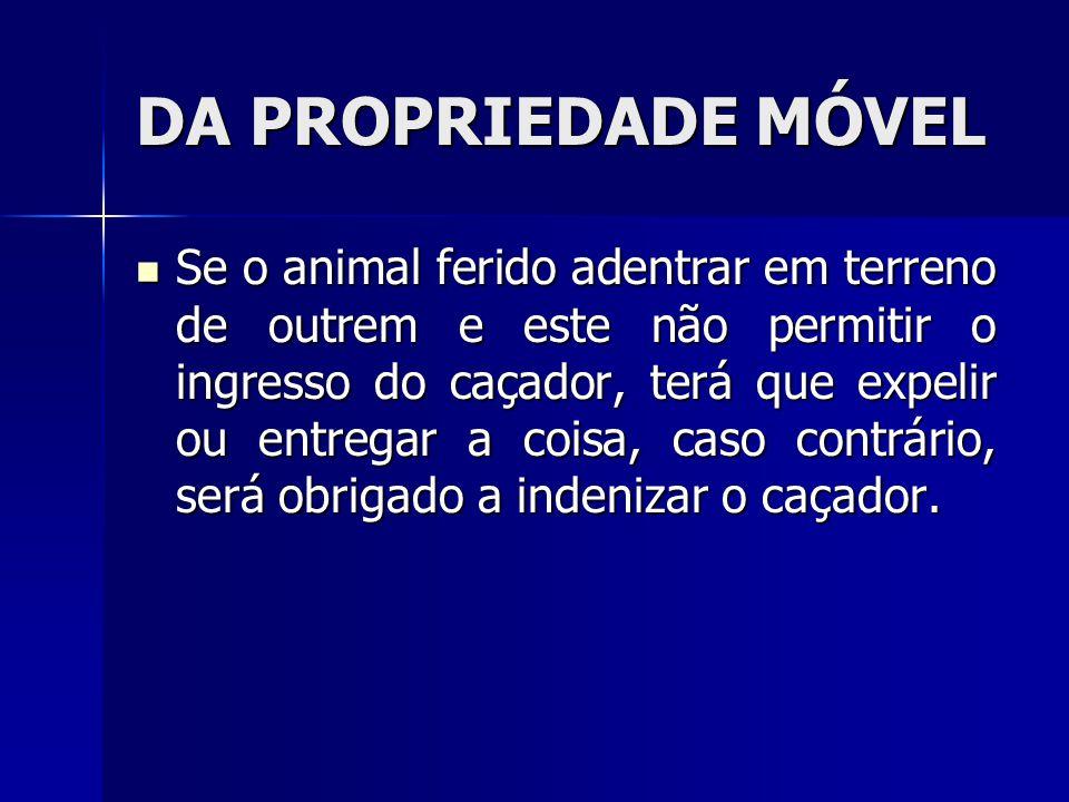 DA PROPRIEDADE MÓVEL Se o animal ferido adentrar em terreno de outrem e este não permitir o ingresso do caçador, terá que expelir ou entregar a coisa,
