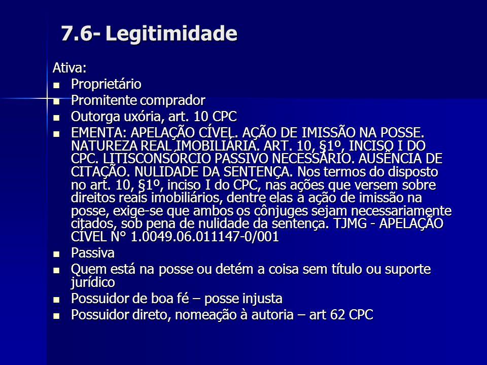 7.6- Legitimidade Ativa: Proprietário Proprietário Promitente comprador Promitente comprador Outorga uxória, art. 10 CPC Outorga uxória, art. 10 CPC E