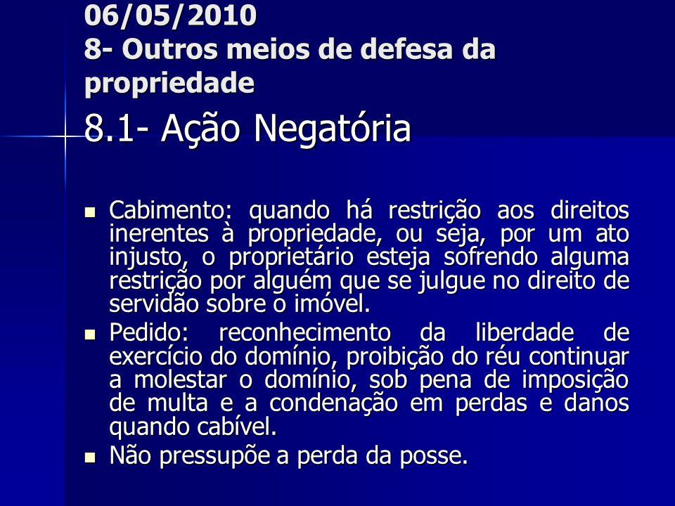 06/05/2010 8- Outros meios de defesa da propriedade 8.1- Ação Negatória Cabimento: quando há restrição aos direitos inerentes à propriedade, ou seja,