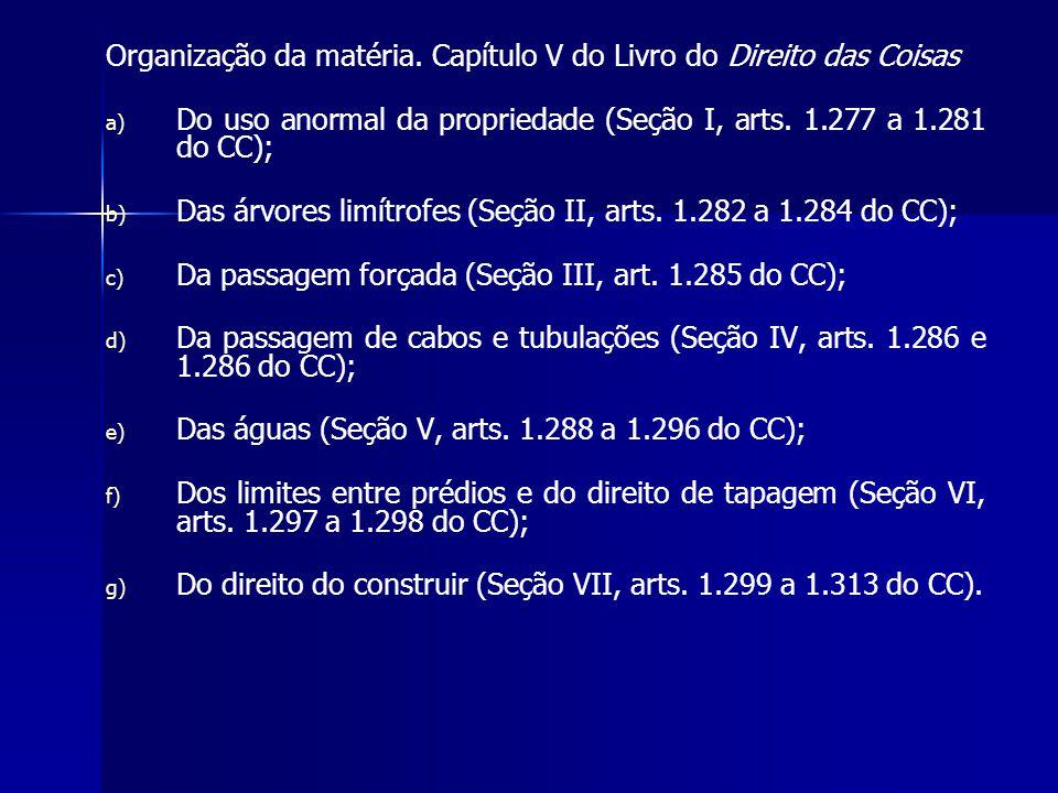 Organização da matéria. Capítulo V do Livro do Direito das Coisas a) a) Do uso anormal da propriedade (Seção I, arts. 1.277 a 1.281 do CC); b) b) Das