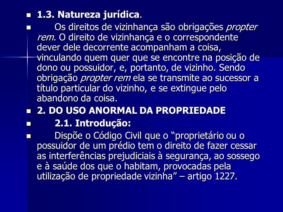 1.3. Natureza jurídica. 1.3. Natureza jurídica. Os direitos de vizinhança são obrigações propter rem. O direito de vizinhança e o correspondente dever