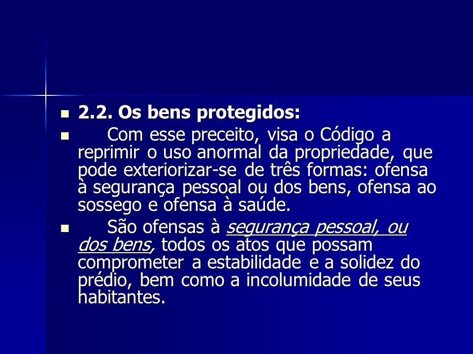 2.2. Os bens protegidos: 2.2. Os bens protegidos: Com esse preceito, visa o Código a reprimir o uso anormal da propriedade, que pode exteriorizar-se d