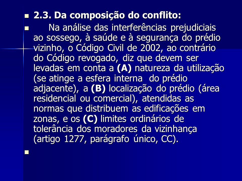 2.3. Da composição do conflito: 2.3. Da composição do conflito: Na análise das interferências prejudiciais ao sossego, à saúde e à segurança do prédio