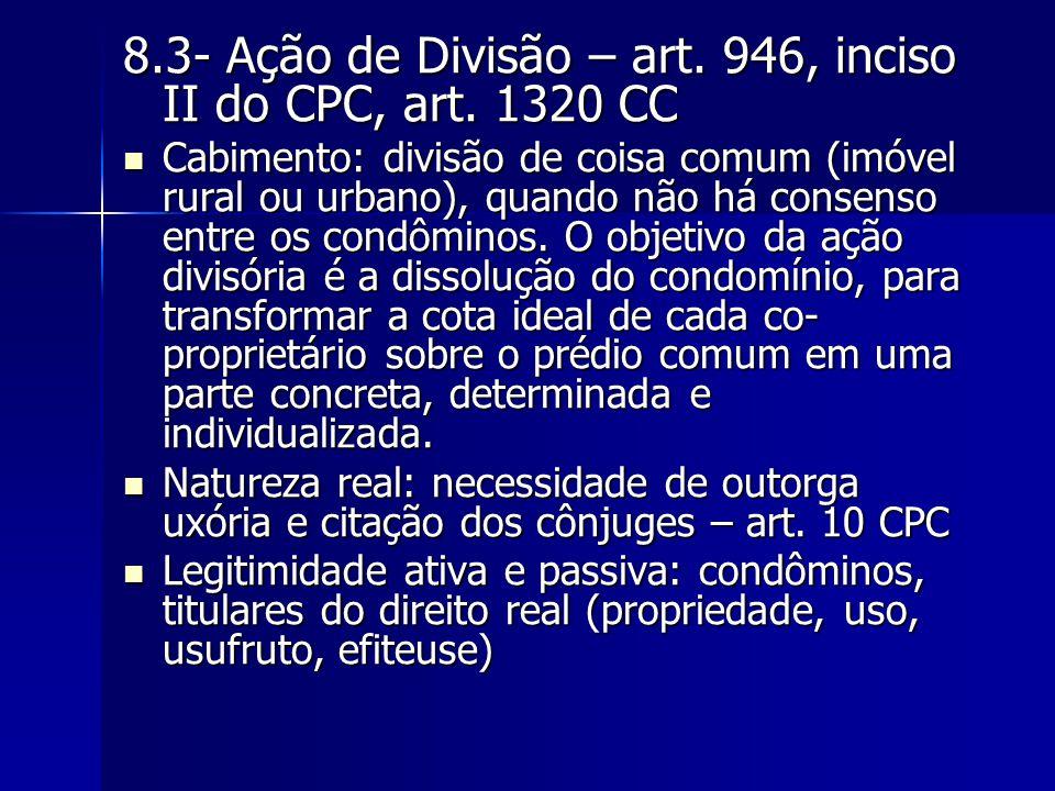 8.3- Ação de Divisão – art. 946, inciso II do CPC, art. 1320 CC Cabimento: divisão de coisa comum (imóvel rural ou urbano), quando não há consenso ent