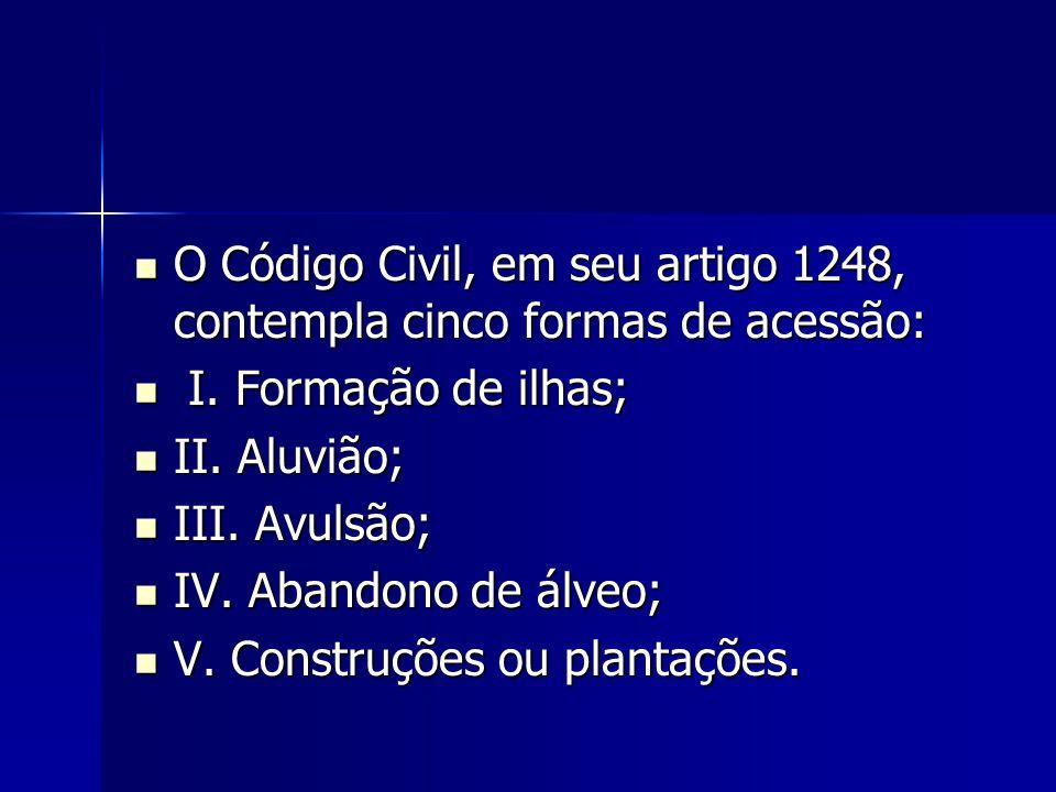 O Código Civil, em seu artigo 1248, contempla cinco formas de acessão: O Código Civil, em seu artigo 1248, contempla cinco formas de acessão: I. Forma