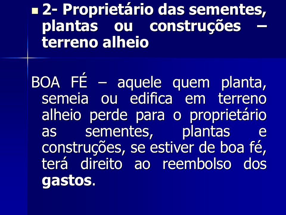 2- Proprietário das sementes, plantas ou construções – terreno alheio 2- Proprietário das sementes, plantas ou construções – terreno alheio BOA FÉ – a