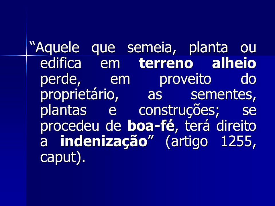 """""""Aquele que semeia, planta ou edifica em terreno alheio perde, em proveito do proprietário, as sementes, plantas e construções; se procedeu de boa-fé,"""